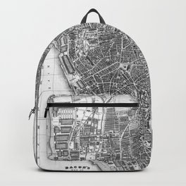 Vintage Map of Liverpool England (1890) BW Backpack