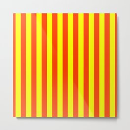 Super Bright Neon Orange and Yellow Vertical Beach Hut Stripes Metal Print
