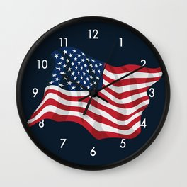 American Pride USA Flag Waving Wall Clock