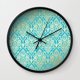 Teal Gold Mermaid Damask Pattern Wall Clock