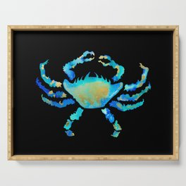 Craggy Blue Crab on Black Serving Tray