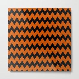 Orange black chevron Metal Print