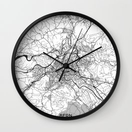 Bern Map Gray Wall Clock