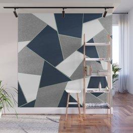 Navy Blue Gray White Mint Geometric Glam #1 #geo #decor #art #society6 Wall Mural