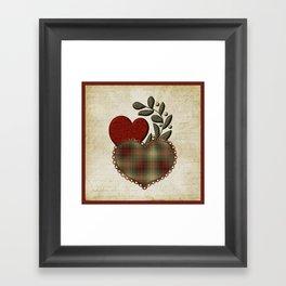 Red & Green Plaid Heart Love Letter Framed Art Print