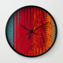 Warm red & turquoise Floor Pattern Art Wall Clock