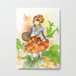 Pumpkin Patchwork Metal Print