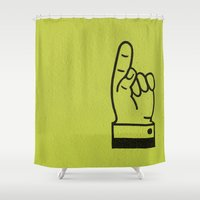lime green Shower Curtains featuring Direction Lime Green by Claire Doherty