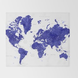 """Navy blue watercolor world map with cities, """"Ronnie"""" Throw Blanket"""