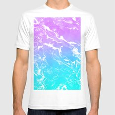 Modern summer purple blue ombre watercolor mermaid white marble MEDIUM White Mens Fitted Tee