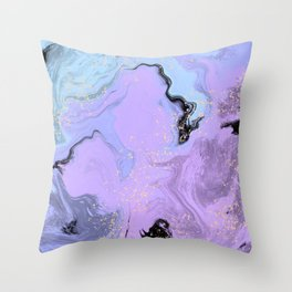Lavender Mint Marble Throw Pillow