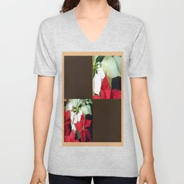 Mixed Color Poinsettias 2 Blank Q3F0 Unisex V-Neck