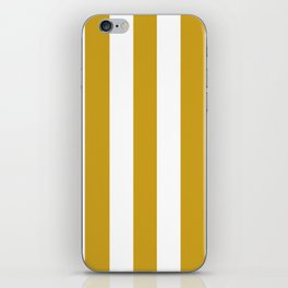 Lemon curry brown - solid color - white vertical lines pattern iPhone Skin