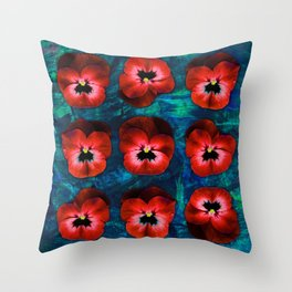 9 red on blue & green Throw Pillow