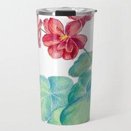 Red watercolor geranium Travel Mug