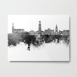 Bruges skyline in black watercolor Metal Print
