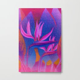 Floreal - Colorful Retro Colors Tropical Floral Surrealism Metal Print