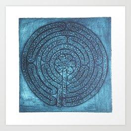 Floral Labyrinth Collagraph Art Print