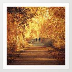 Golden walk Art Print