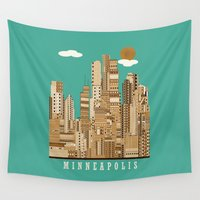 minneapolis Wall Tapestries featuring Minneapolis skyline by bri.buckley