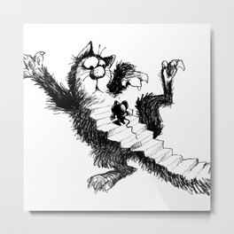 Cat and Mouse Art Metal Print