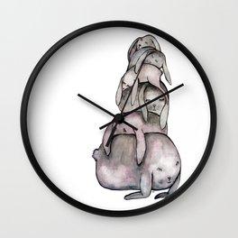 Sleeping Bunnie Pile Wall Clock