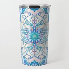 Teal Blue, Pearl & Pink Floral Pattern Travel Mug