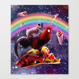 Space Pug Riding Chicken Unicorn - Taco & Burrito Canvas Print