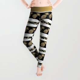 Chic black and gold confetti pineapple stripes Leggings