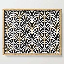 Art Deco Fan Pattern, Black and White Serving Tray