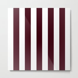Chocolate brown - solid color - white vertical lines pattern Metal Print