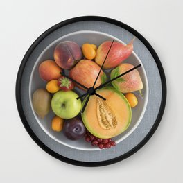 Fruits on a plate Wall Clock