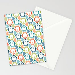 NGWINI - penguin love pattern 5 Stationery Cards