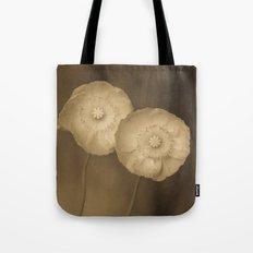 Twins -- Sepia Poppy Flowers Tote Bag