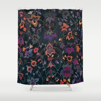 bali Shower Curtains featuring Bali Floral by Nikkistrange