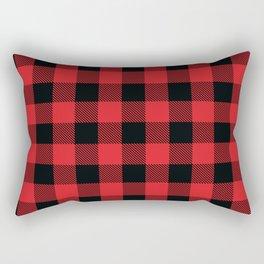 Buffalo Plaid Christmas Red and Black Check Rectangular Pillow