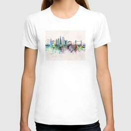London V2 skyline in watercolor background T-shirt