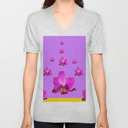 PURPLE ORCHID FLOWERS RAIN YELLOW ART Unisex V-Neck