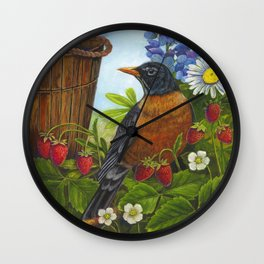 Robin and Old Wooden Bucket Wall Clock