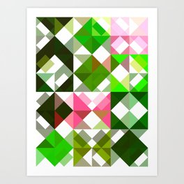 Pink Roses in Anzures 5  Abstract Triangles 1 Art Print