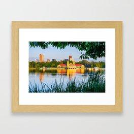 Denver Morning Skyline City Reflections - City Park View Framed Art Print