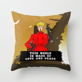This World is Made of Love and Peace with Background Throw Pillow