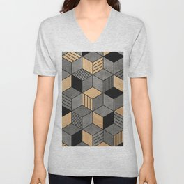 Concrete and Wood Cubes 2 Unisex V-Neck