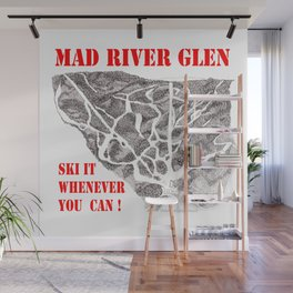 Mad River Glen Vermont, Ski Zentangle Illustration Wall Mural