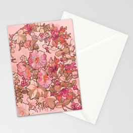 """Alphonse Mucha """"Printed textile design with hollyhocks in foreground"""" (edited red) Stationery Cards"""