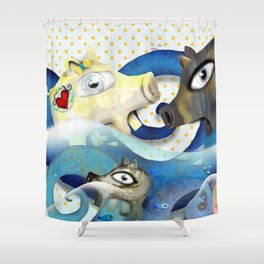 Bahamas swimming pigs surfing waves Shower Curtain