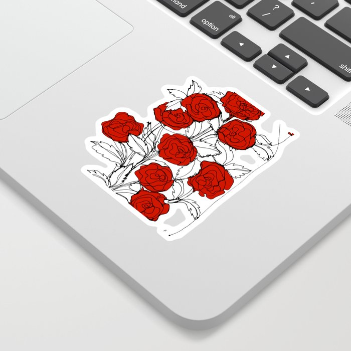 Bouquet of Roses (a Continuous Line Drawing) Sticker