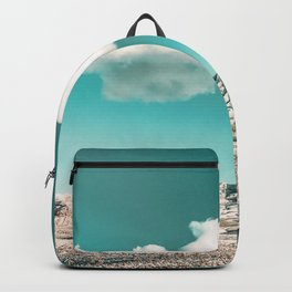 Vintage Desert Snow Cloud // Scenic Desert Landscape in Winter Fluffy Clouds Snow Mountains Cacti Backpack