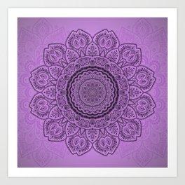 Mandala on Light Purple Art Print