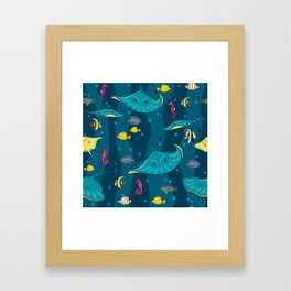 Decorative seamless pattern with sea fish on blue background. Framed Art Print